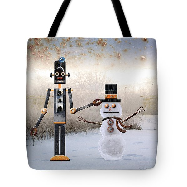 Laurence Builds A Snowman Tote Bag by Joan Ladendorf
