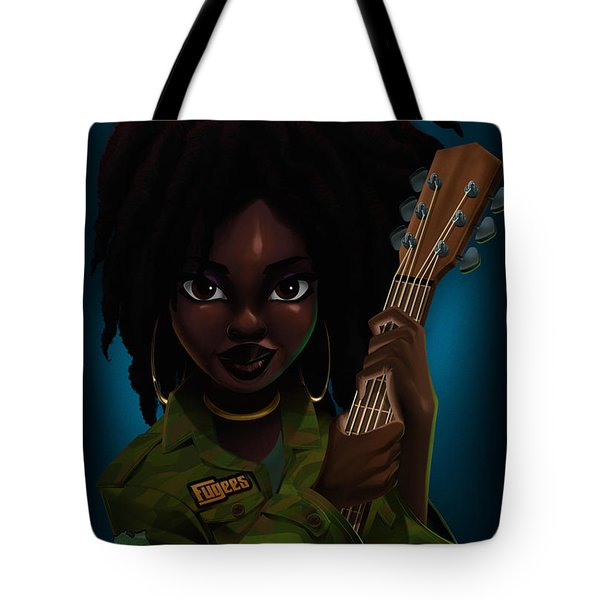 Tote Bag featuring the digital art Lauryn Hill by Nelson Dedos Garcia