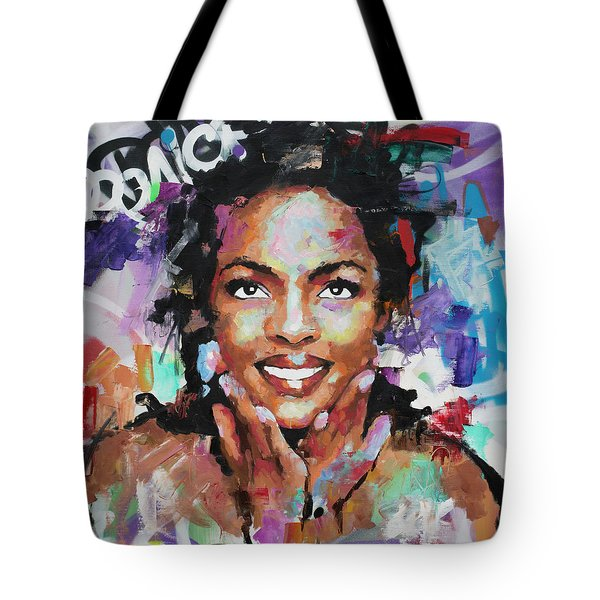 Tote Bag featuring the painting Lauryn Hill by Richard Day