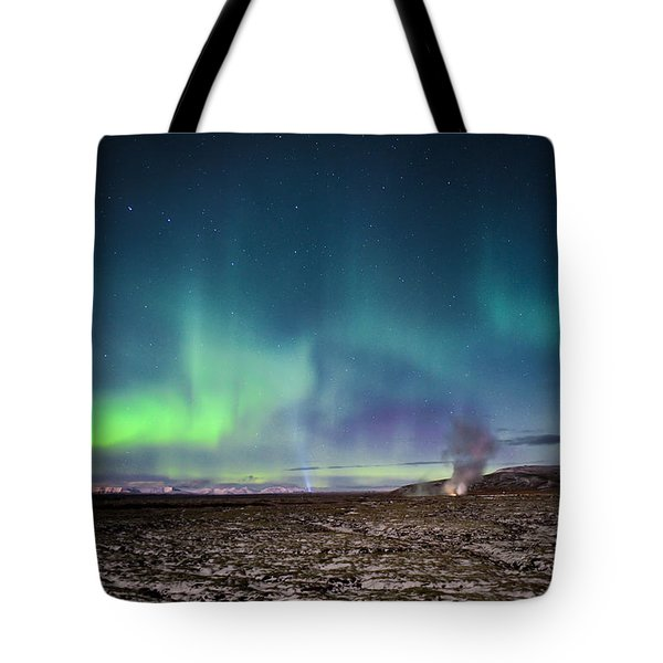 Lava And Light - Aurora Over Iceland Tote Bag