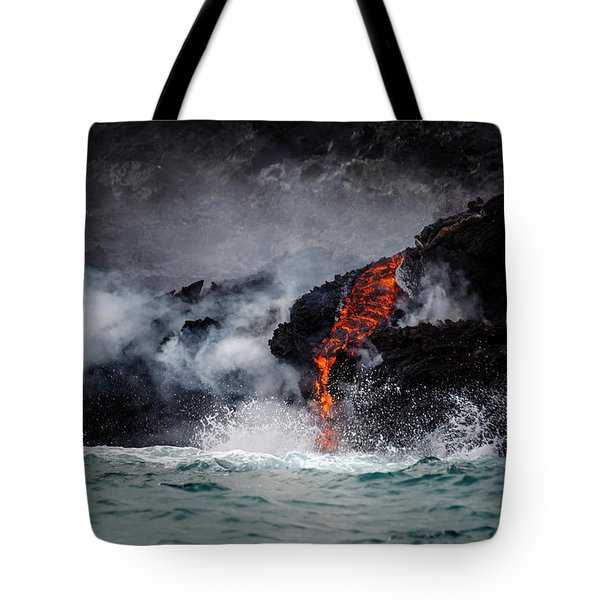 Lava Dripping Into The Ocean Tote Bag