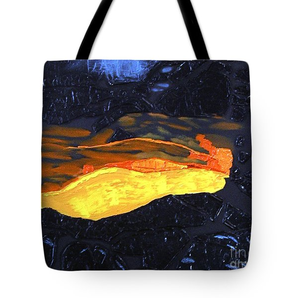 Tote Bag featuring the painting Lava Flow by Karen Nicholson