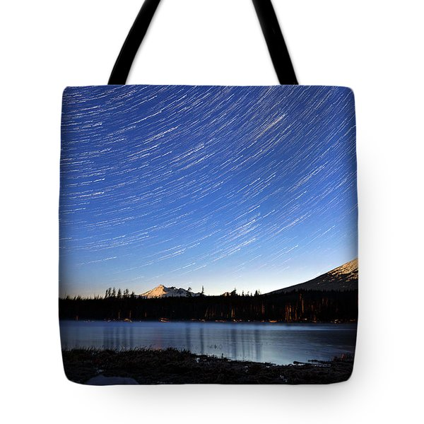 Tote Bag featuring the photograph Lava Lake Star Trails by Cat Connor