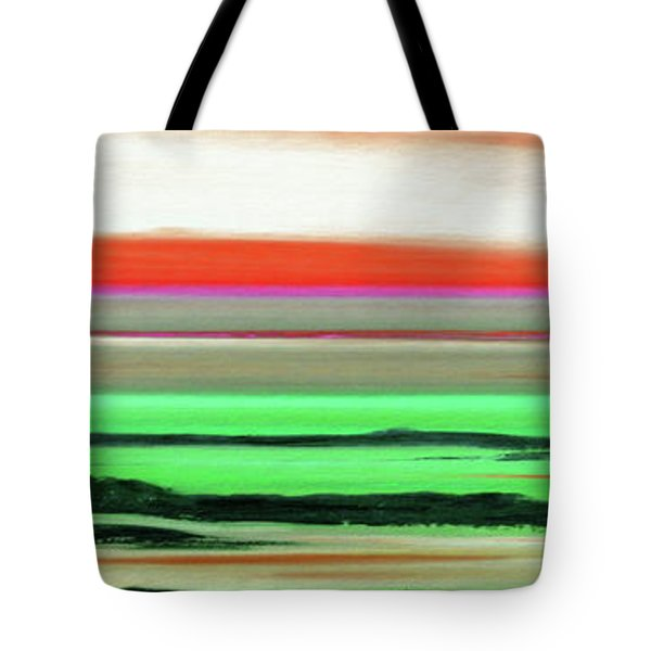 Lava Rock Abstract Panoramic Sunset In Red And Green Tote Bag