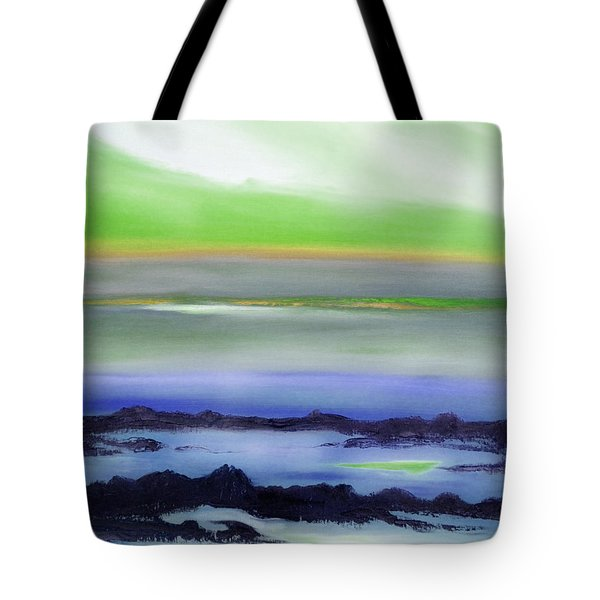 Lava Rock Abstract Sunset In Blue And Green Tote Bag