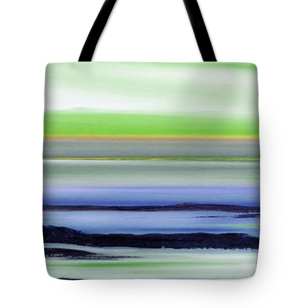Lava Rock Panoramic Sunset In Green And Blue Tote Bag