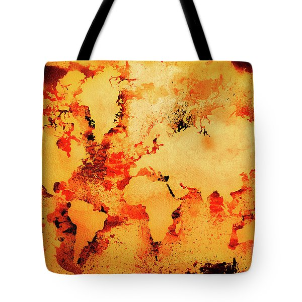 Lava World Map Tote Bag