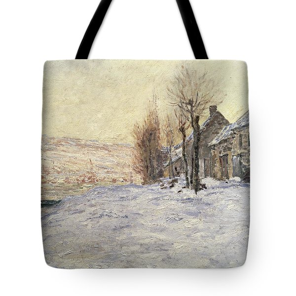Lavacourt Under Snow Tote Bag by Claude Monet
