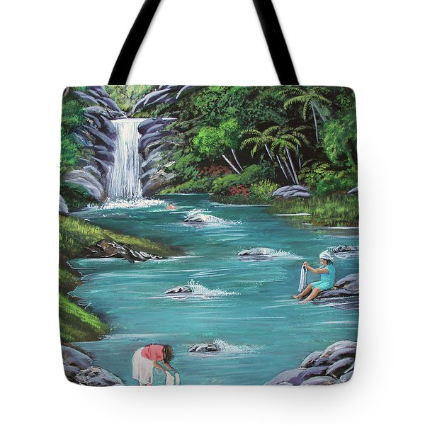 Lavando Ropa    Washing Clothes Tote Bag by Luis F Rodriguez