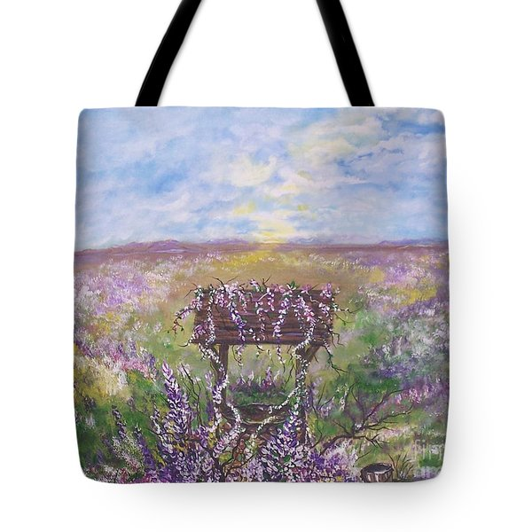 Tote Bag featuring the painting Lavendar Wishes by Leslie Allen