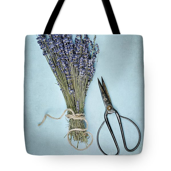 Tote Bag featuring the photograph Lavender And Antique Scissors by Stephanie Frey