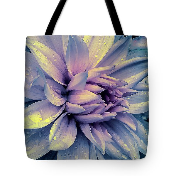 Tote Bag featuring the photograph Lavender And Pink Dahlia And Water Drops by Julie Palencia