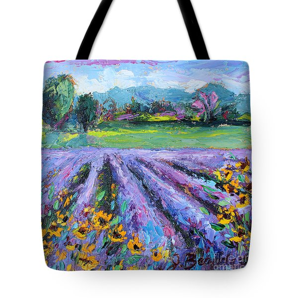 Tote Bag featuring the painting Lavender And Sunflowers In Bloom by Jennifer Beaudet