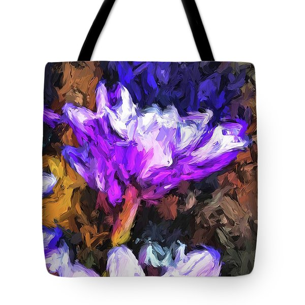 Lavender And White Flower With Reflection Tote Bag