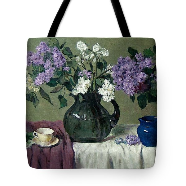 Lavender And White Lilacs With Blue Creamer And Teacup Tote Bag