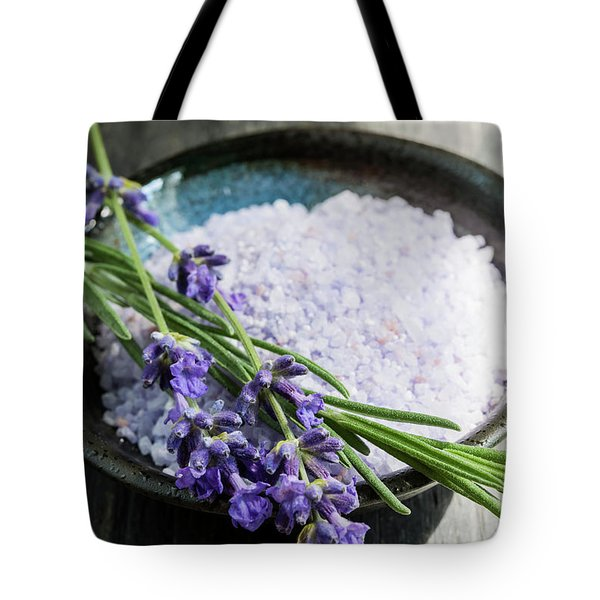 Tote Bag featuring the photograph Lavender Bath Salts In Dish by Elena Elisseeva