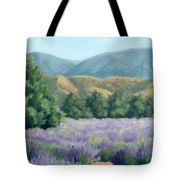 Lavender, Blue And Gold Tote Bag by Sandy Fisher