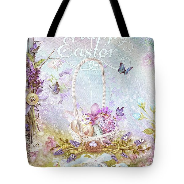 Tote Bag featuring the mixed media Lavender Easter by Mo T
