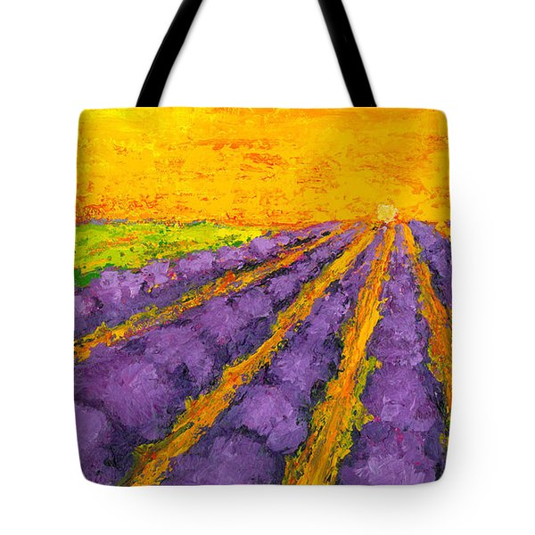 Lavender Field A Modern Impressionistic Artwork In Palette Knife Tote Bag