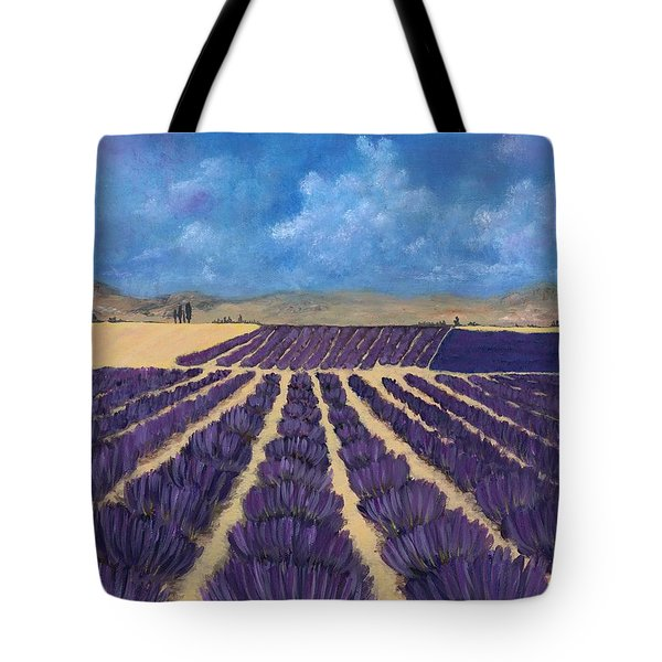 Tote Bag featuring the painting Lavender Field by Anastasiya Malakhova