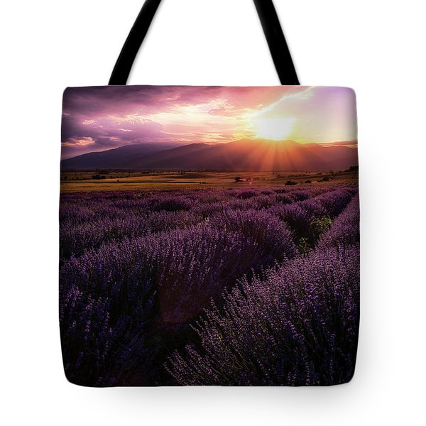 Lavender Field At Sunset Tote Bag