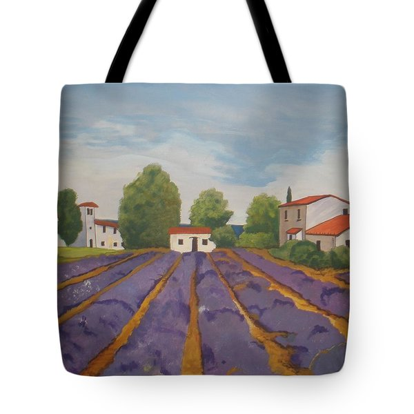 Tote Bag featuring the painting Lavender Field by Betty-Anne McDonald