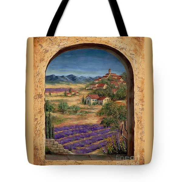Lavender Fields And Village Of Provence Tote Bag by Marilyn Dunlap
