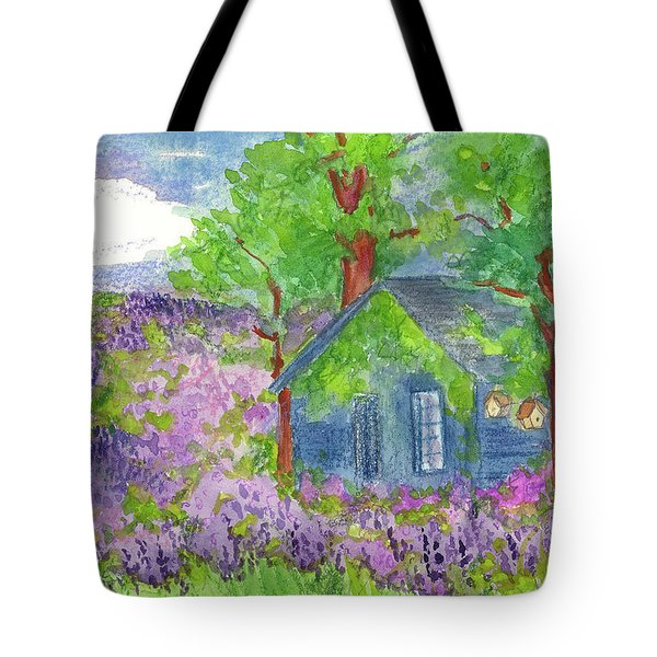 Tote Bag featuring the painting Lavender Fields by Cathie Richardson