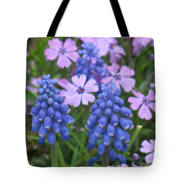 Lavender Flowers And Blue Berries Tote Bag