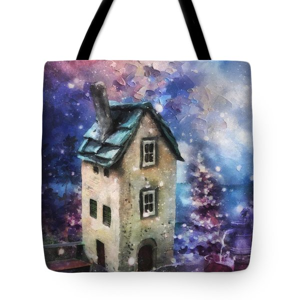 Tote Bag featuring the painting Lavender Hill by Mo T