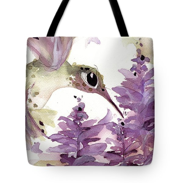 Tote Bag featuring the painting Lavender Hummer by Dawn Derman