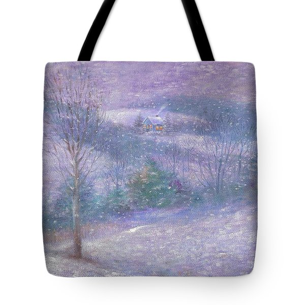 Tote Bag featuring the painting Lavender Impressionist Snowscape by Judith Cheng