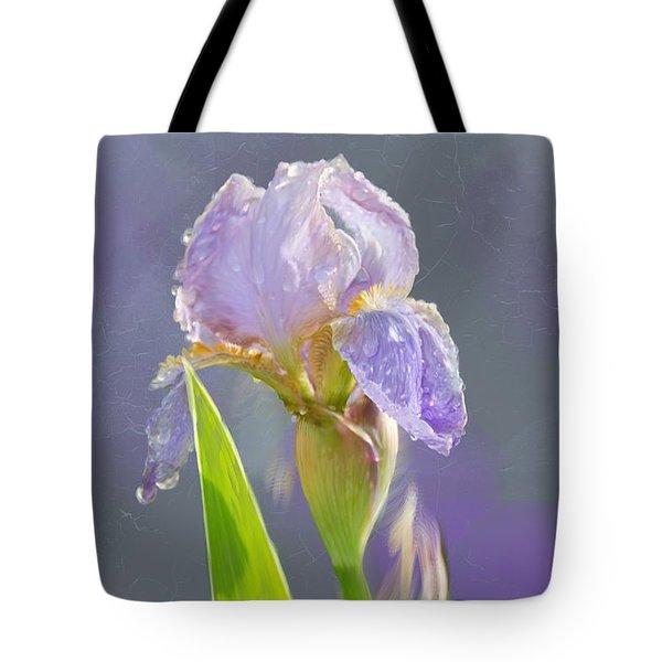 Lavender Iris In The Morning Sun Tote Bag by Debra Baldwin