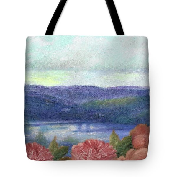 Tote Bag featuring the painting Lavender Morning With Roses by Judith Cheng