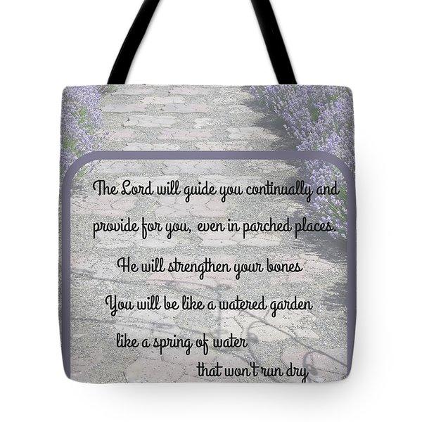 Lavender Path With Scripture Art Isiah 58 Tote Bag