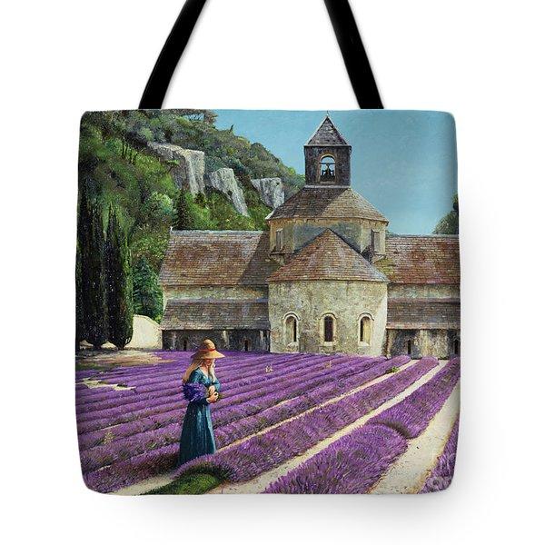 Lavender Picker - Abbaye Senanque - Provence Tote Bag by Trevor Neal