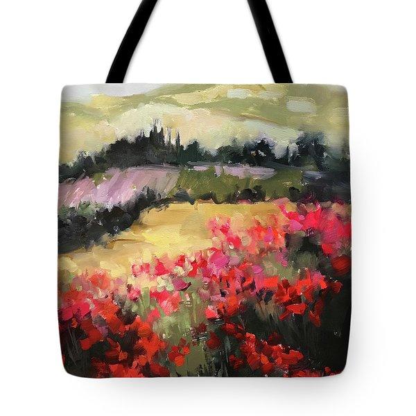 Lavender Rain Italian Poppy Fields Tote Bag
