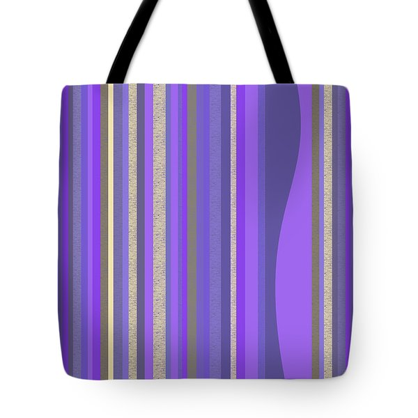 Tote Bag featuring the digital art Lavender Random Stripe Abstract by Val Arie