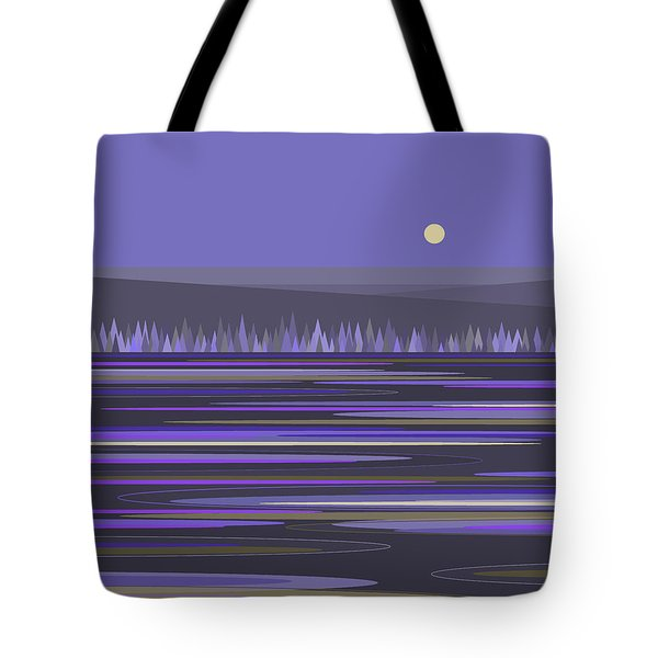 Tote Bag featuring the digital art Lavender Reflections by Val Arie