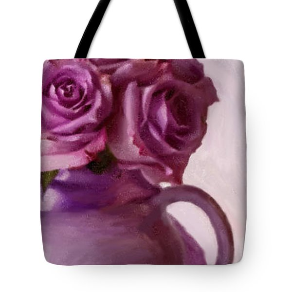 Lavender Roses And Tea Pot Tote Bag by Sandra Foster