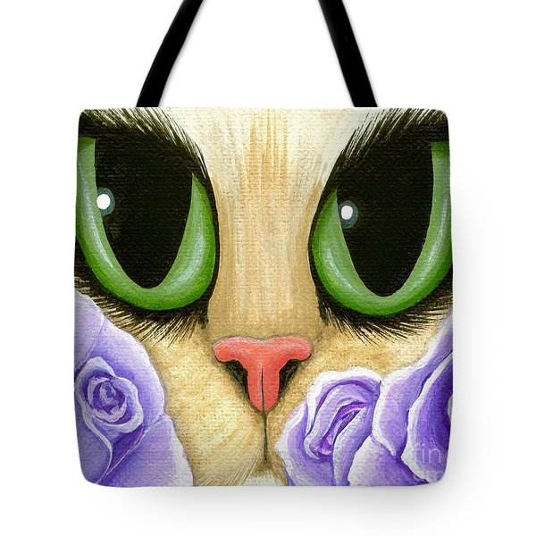 Tote Bag featuring the painting Lavender Roses Cat - Green Eyes by Carrie Hawks