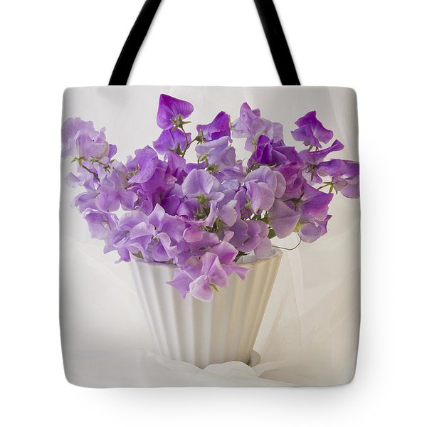 Lavender Sweet Peas And Chiffon Tote Bag by Sandra Foster