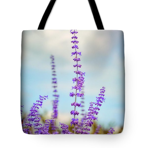 Tote Bag featuring the photograph Lavender To The Sky by Kerri Farley