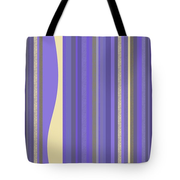 Tote Bag featuring the digital art Lavender Twilight - Stripes by Val Arie