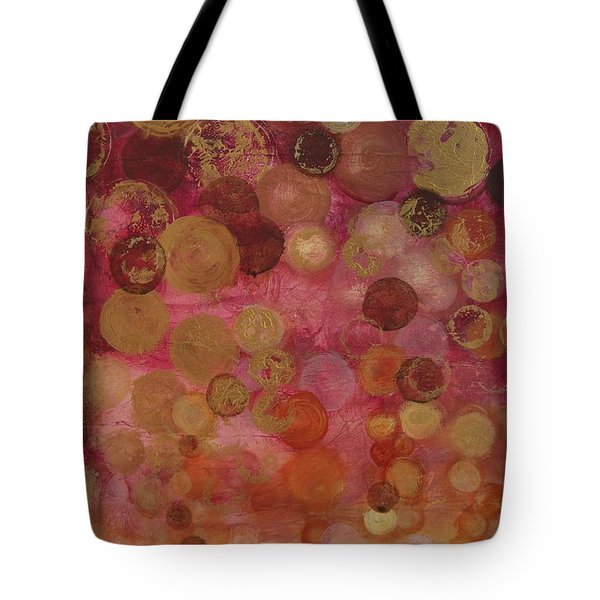 Layers Of Circles On Red Tote Bag by Kristen Abrahamson