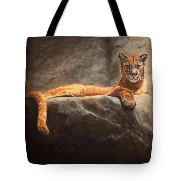 Laying Cougar Tote Bag