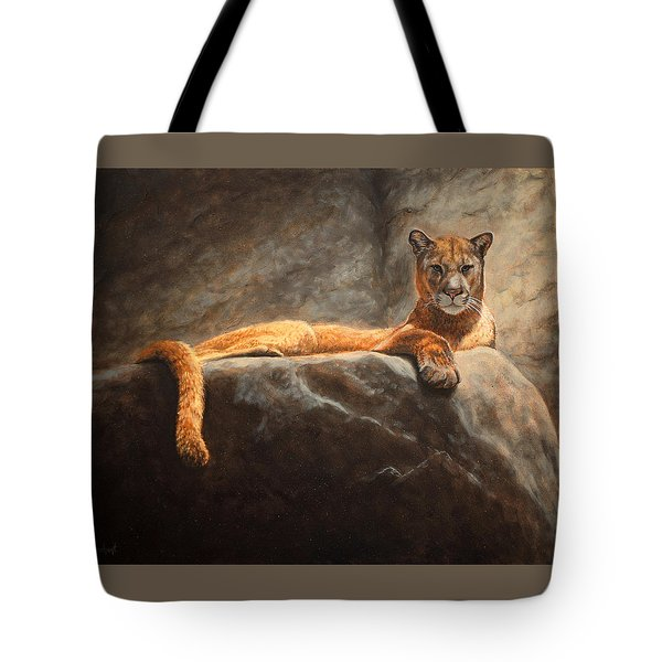 Laying Cougar Tote Bag
