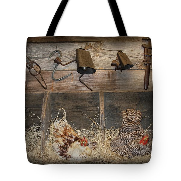 Laying Hens Tote Bag by Kim Henderson
