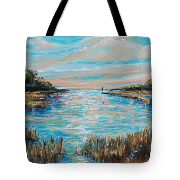 Tote Bag featuring the painting Lazy Coastal River II by Linda Olsen