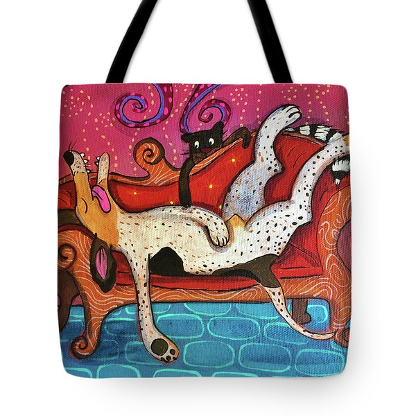 Tote Bag featuring the painting Lazy Coonhound by Marti McGinnis